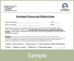 Waiver and Medical Form